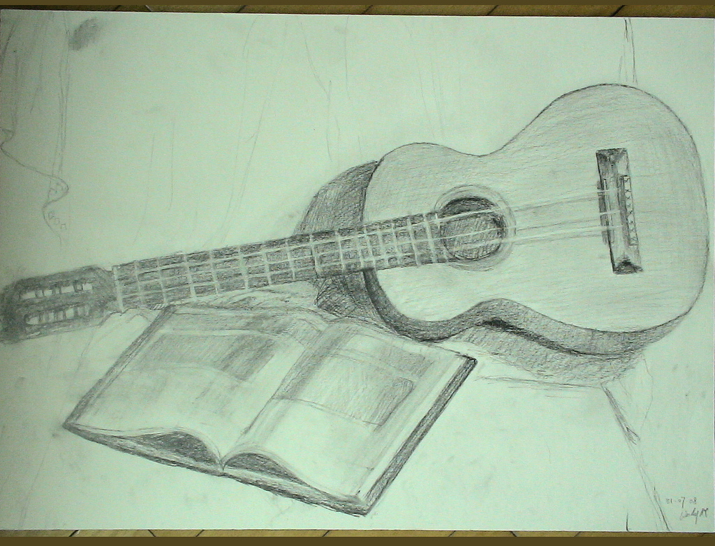 guitar drawing in pencil at getdrawings | free for personal use