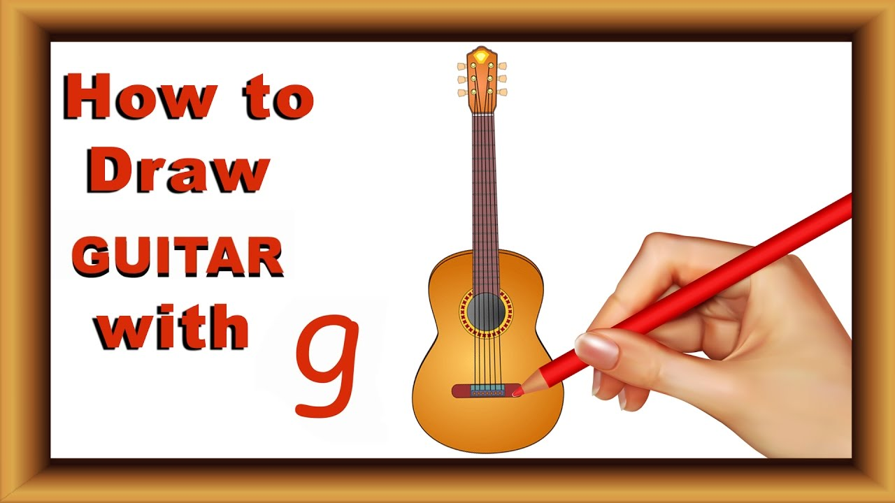 1280x720 Draw With Alphabet Step By Step How To Draw Guitar With Alphabet