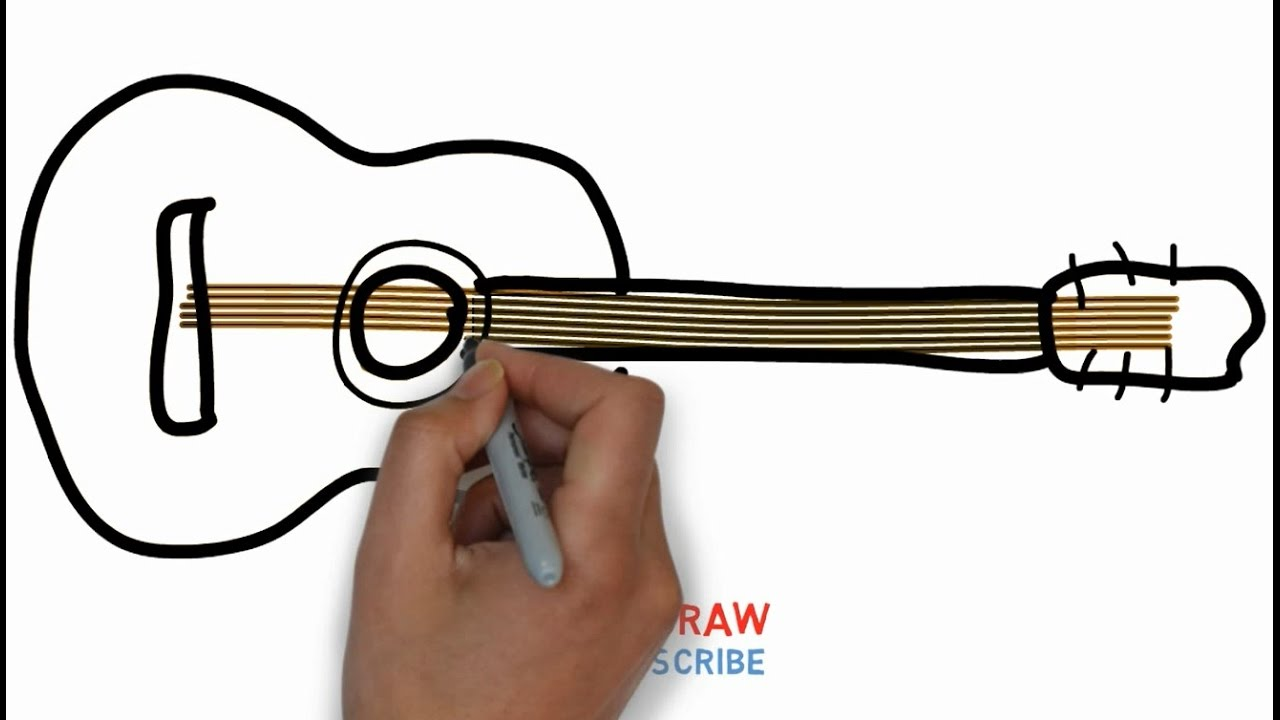 1280x720 Easy Step For Kids How To Draw A Guitar