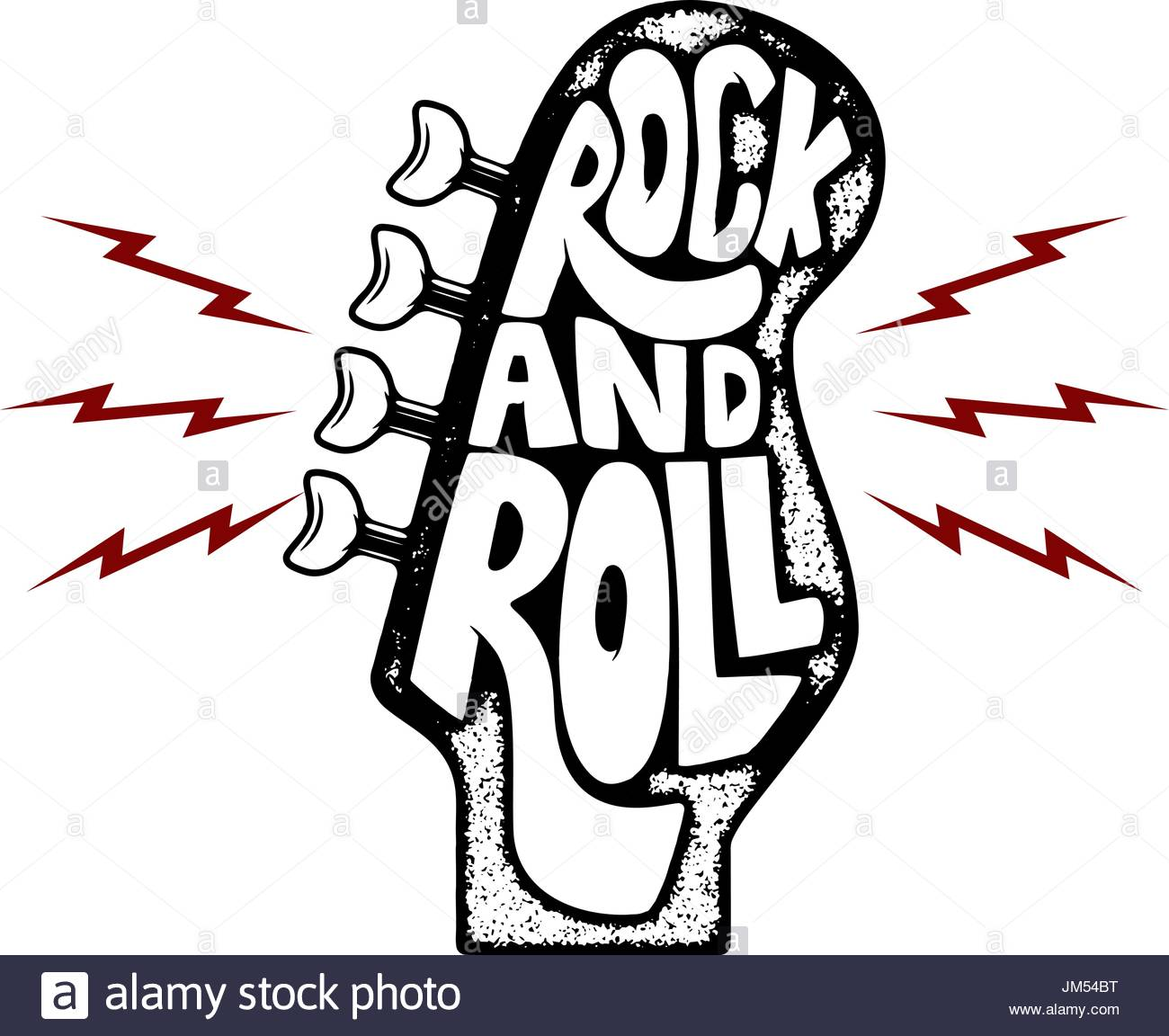 1300x1152 Rock And Roll. Hand Drawn Phrase On Guitar Neck Head Background