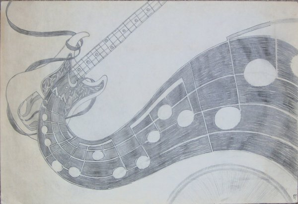 600x410 base guitar pencil sketch by geak of nature on deviantart