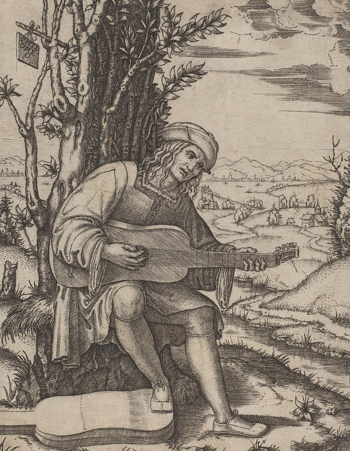 698x900 The Guitar Player Drawing By Marcantonio Raimondi