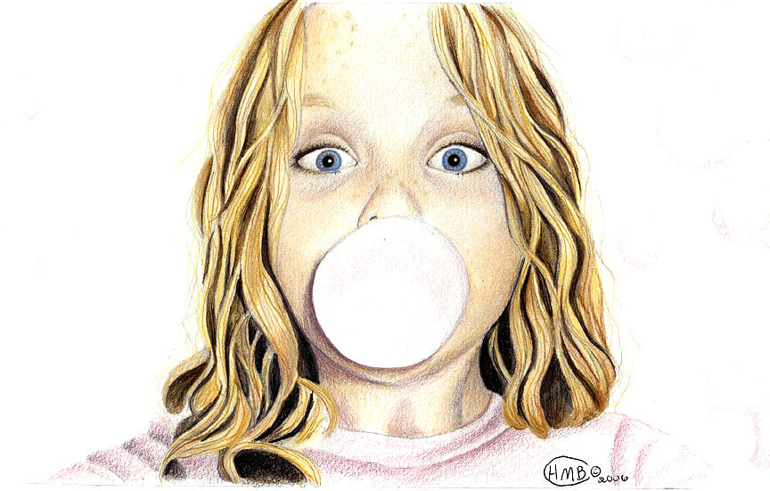 864x551 Bubble Gum Drawing By Heather Conversi
