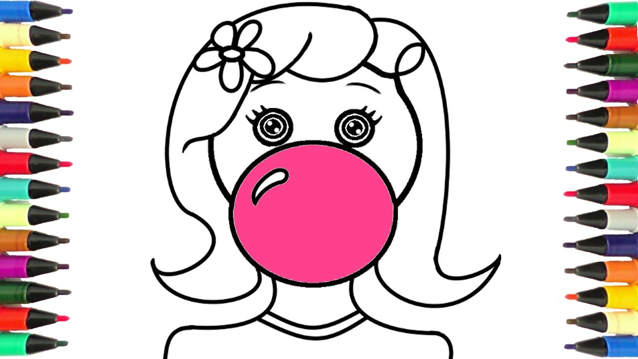 1280x720 Coloring Pages Girl With A Bubble Gum Drawing Art For Kids