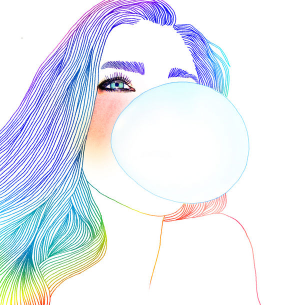 610x610 Blowing Bubble Gum Illustrations Bubble Gum Girl And Have