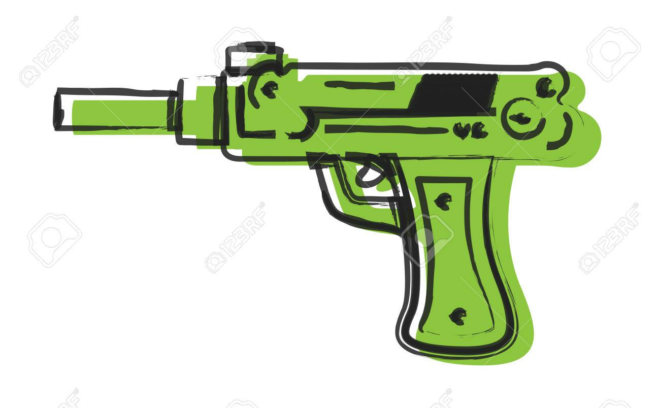 1300x804 Artistic Gun Drawing Royalty Free Cliparts, Vectors, And Stock