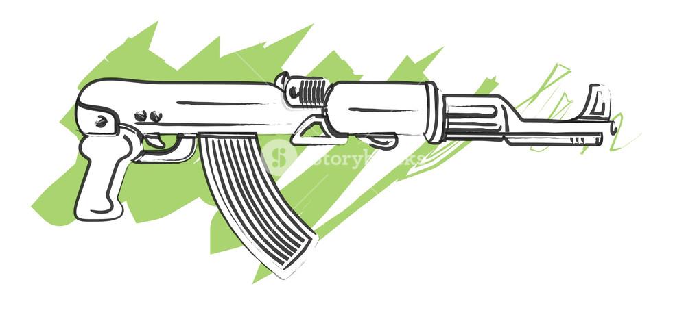 1000x466 Gun Drawing Royalty Free Stock Image