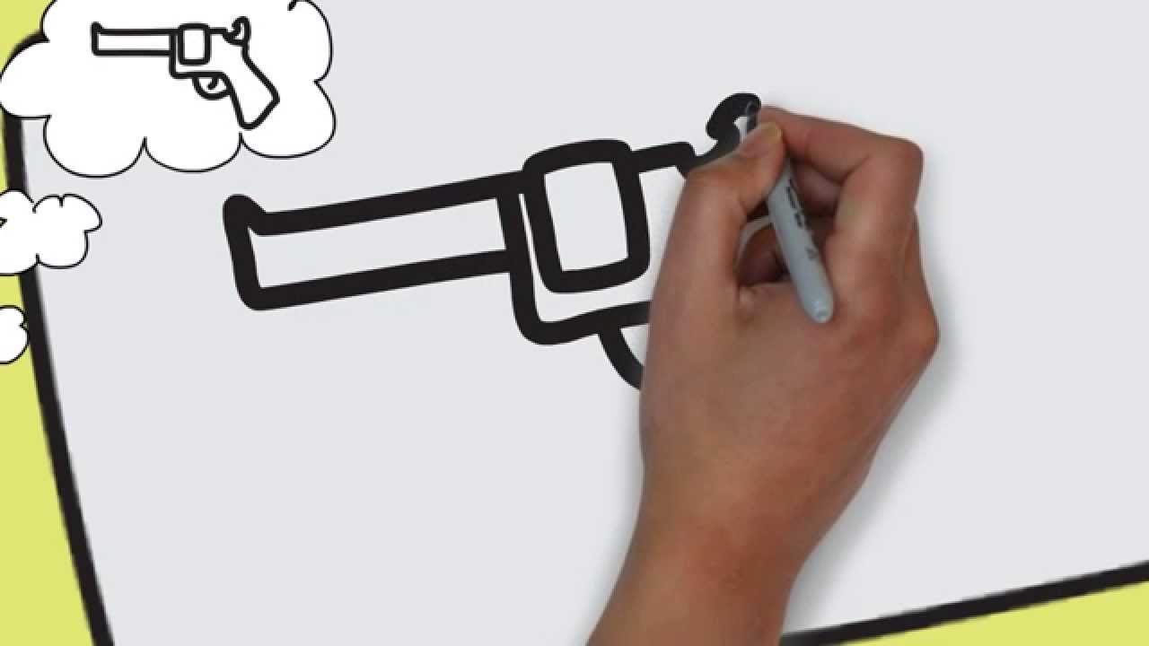 1280x720 How to draw a gun EASY amp SIMPLE