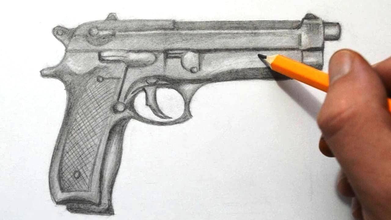 1280x720 Een Geschetste Gun Opdracht Tekenen Drawings