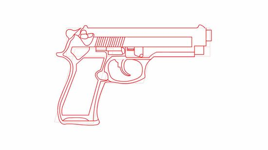 550x309 How To Draw A 9mm Gun 6 Steps (With Pictures)