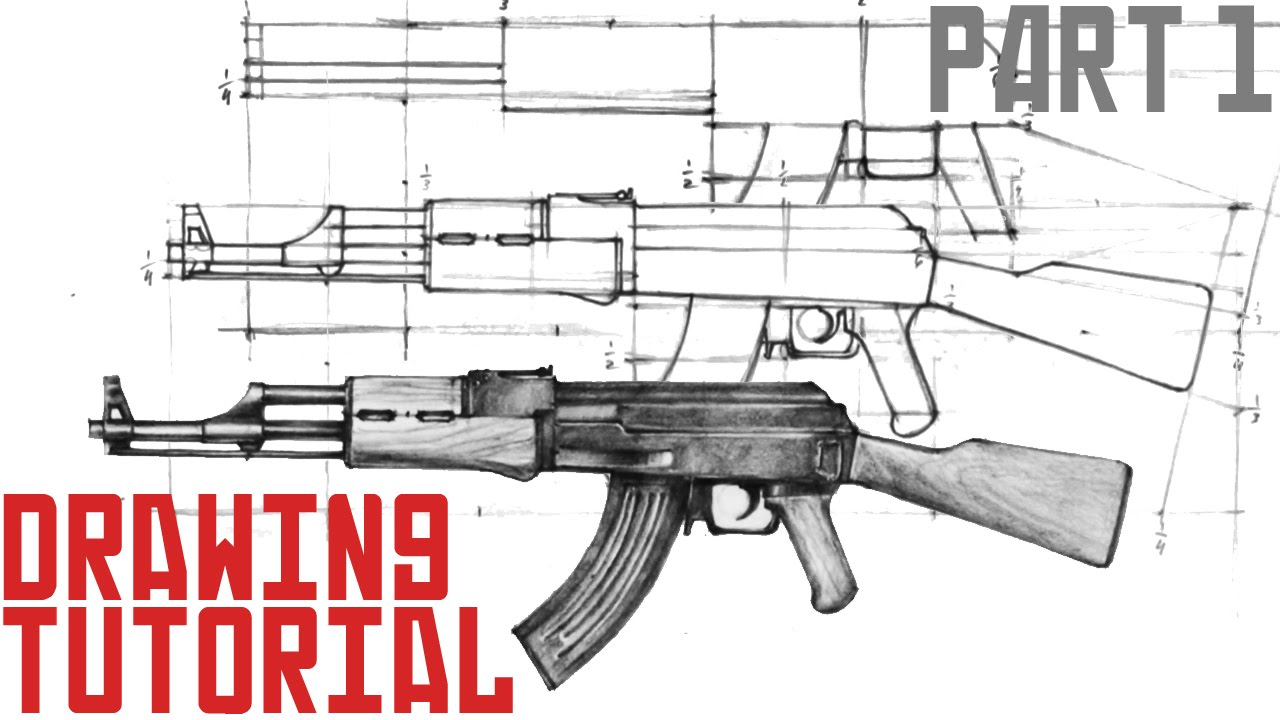 1280x720 How To Draw Ak 47 In 10 Easy Steps (Part 1)
