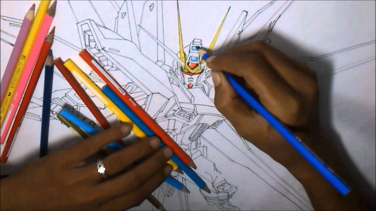 1280x720 Drawing Gundam Strike Freedom Amp Neon Mode Video