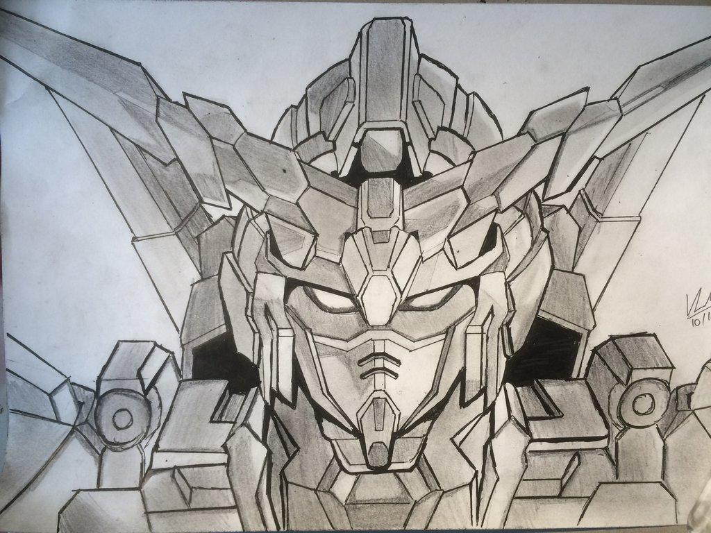 1024x768 Gundam Unicorn Drawing (Inktober Day 6) By Crimsonk3y