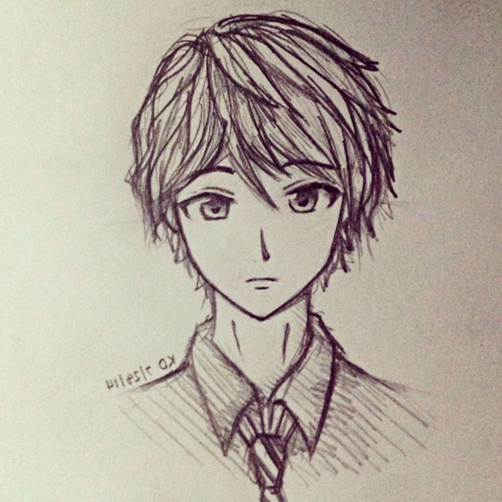 1024x1024 Drawing Anime Guys Sad Anime Guy Drawings In Pencil Cute Anime