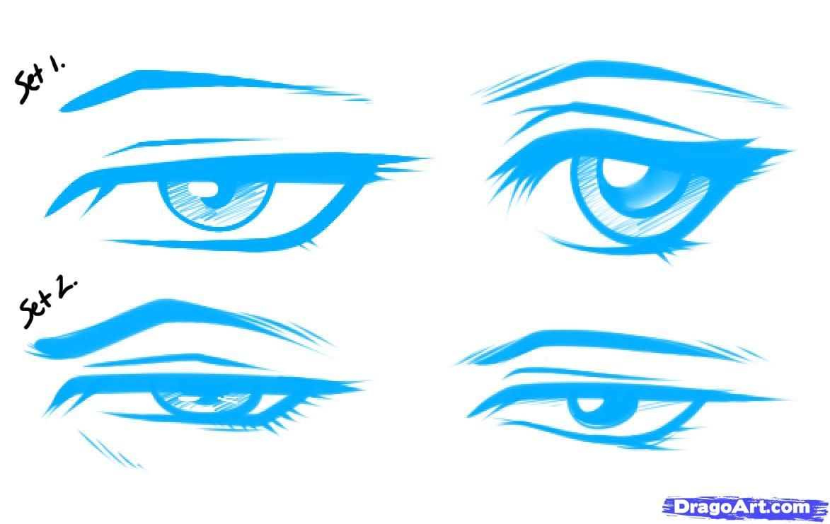 1173x741 How To Draw Anime Male Eyes, Step By Step, Anime Eyes, Anime, Draw