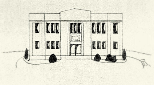 500x276 1934 Drawing Of The Original Gymnasium Of Sutter Creek