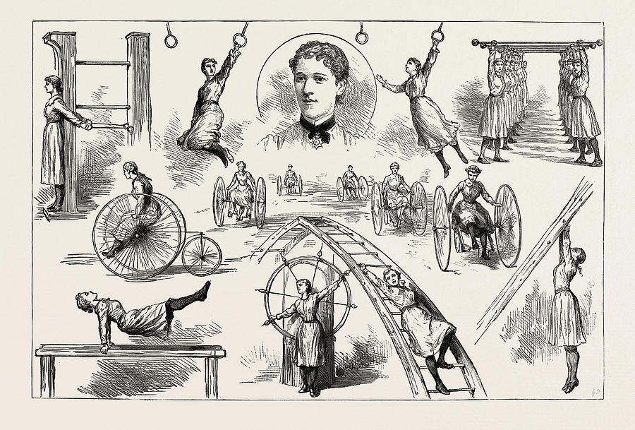 900x609 A Gymnastic Display By Ladies At The Liverpool Gymnasium Drawing