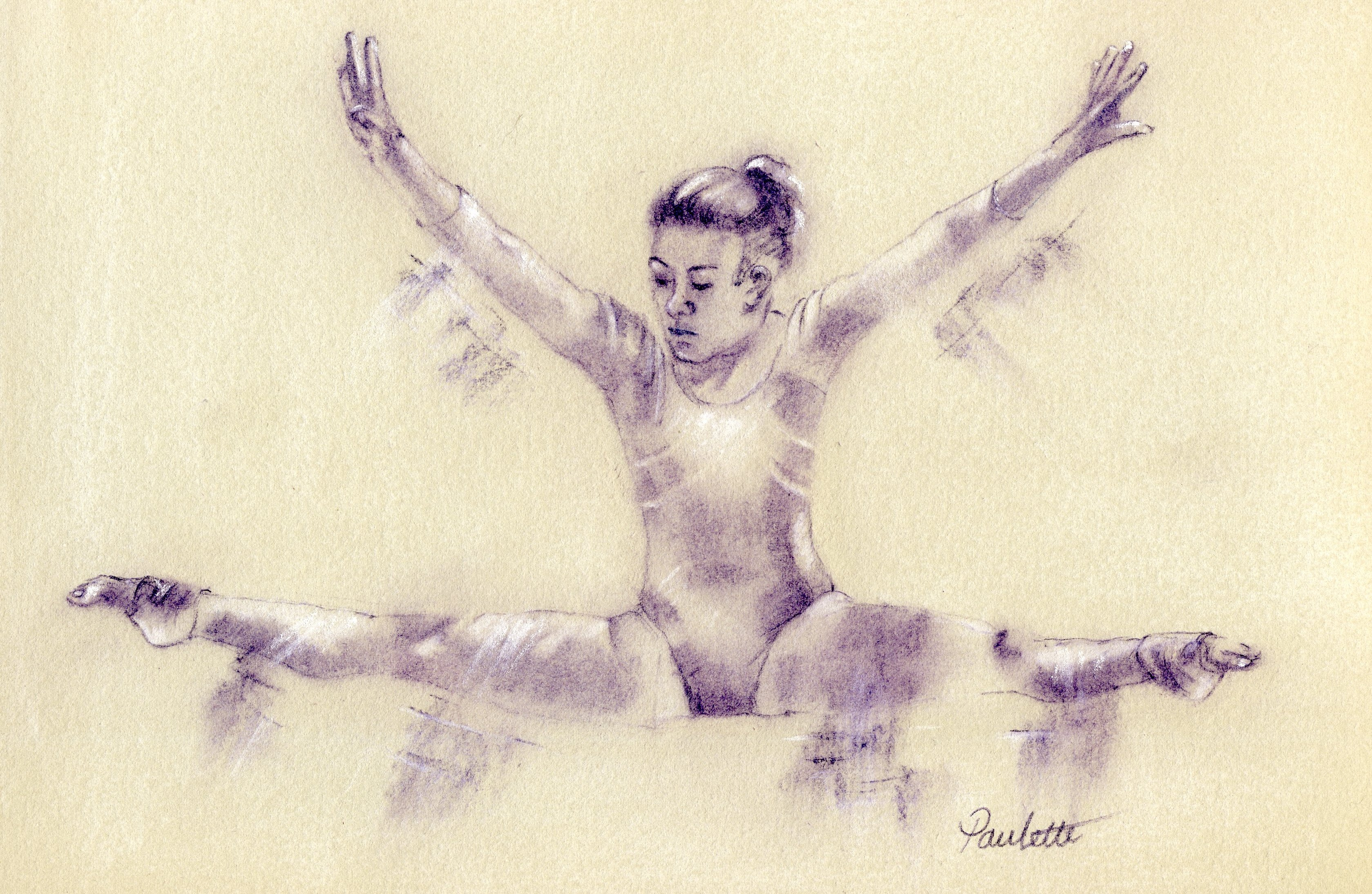 3358x2188 Gymnastic Drawing In Pastel By Sports Artist Paulette Farrell