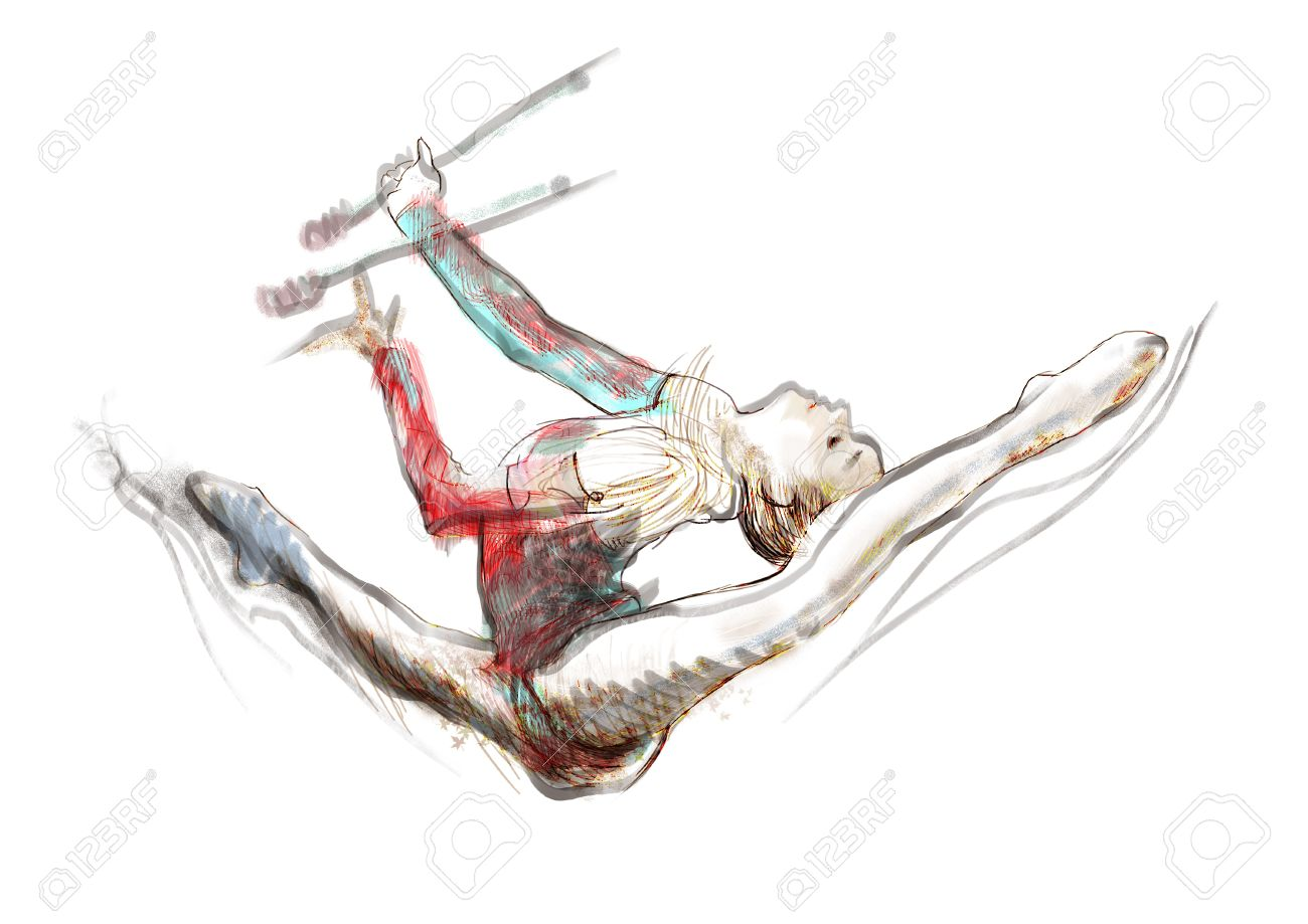 1300x919 Hand Drawn Picture On The Topic Of Sports Gymnastics Stock Photo