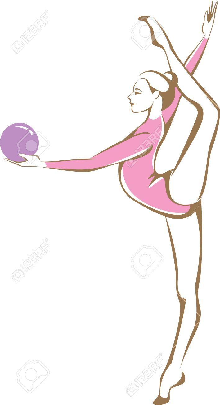 709x1300 Rhytmic Gymnast Holding A Ball Linear Vector Drawing Royalty Free