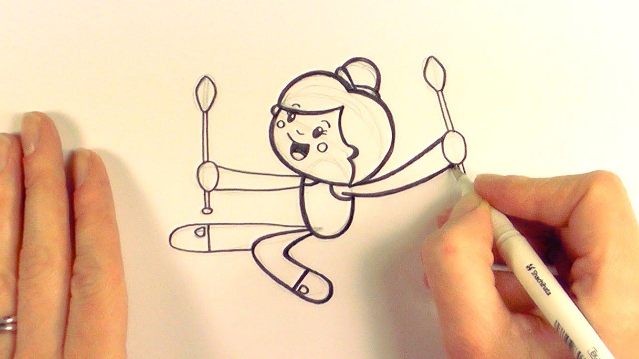 1280x720 How To Draw A Cartoon Rhythmic Gymnast With Clubs