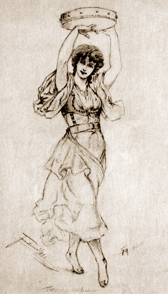 343x599 A Dancing Gypsy Girl With A Tambourine I.tarczalowicz Polish