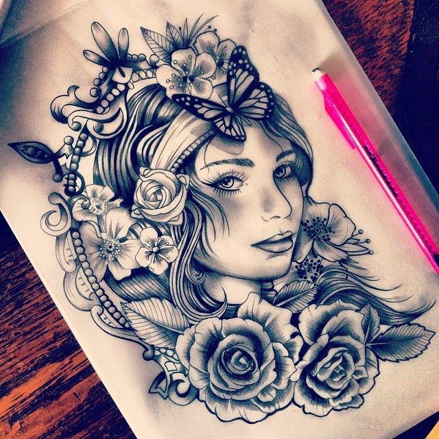 640x640 Gypsy Flower Woman Tattoo Ideas Tatluv Tatluv