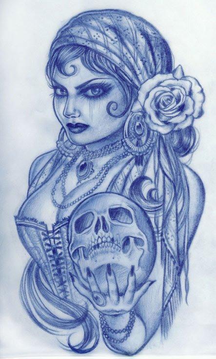 443x735 Gypsy Woman Holding Skull Tattoo Design Tattoo Love