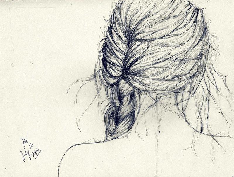 800x607 Hair Braid Sketch Draw It Sketches, Drawings