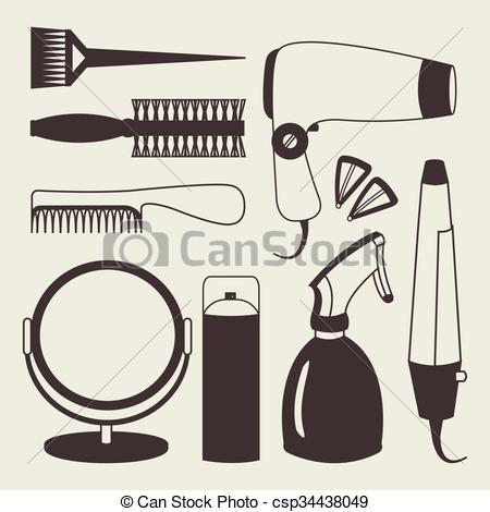 450x470 Hair Accessories And Barber Tools Grey Icons. Hair Eps Vector