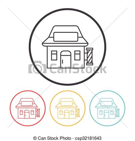 450x470 Hair Salon Store Line Icon Eps Vector