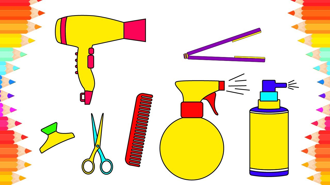 1280x720 How To Draw Easy Accessories For Hair. Coloring Pages Set Barber