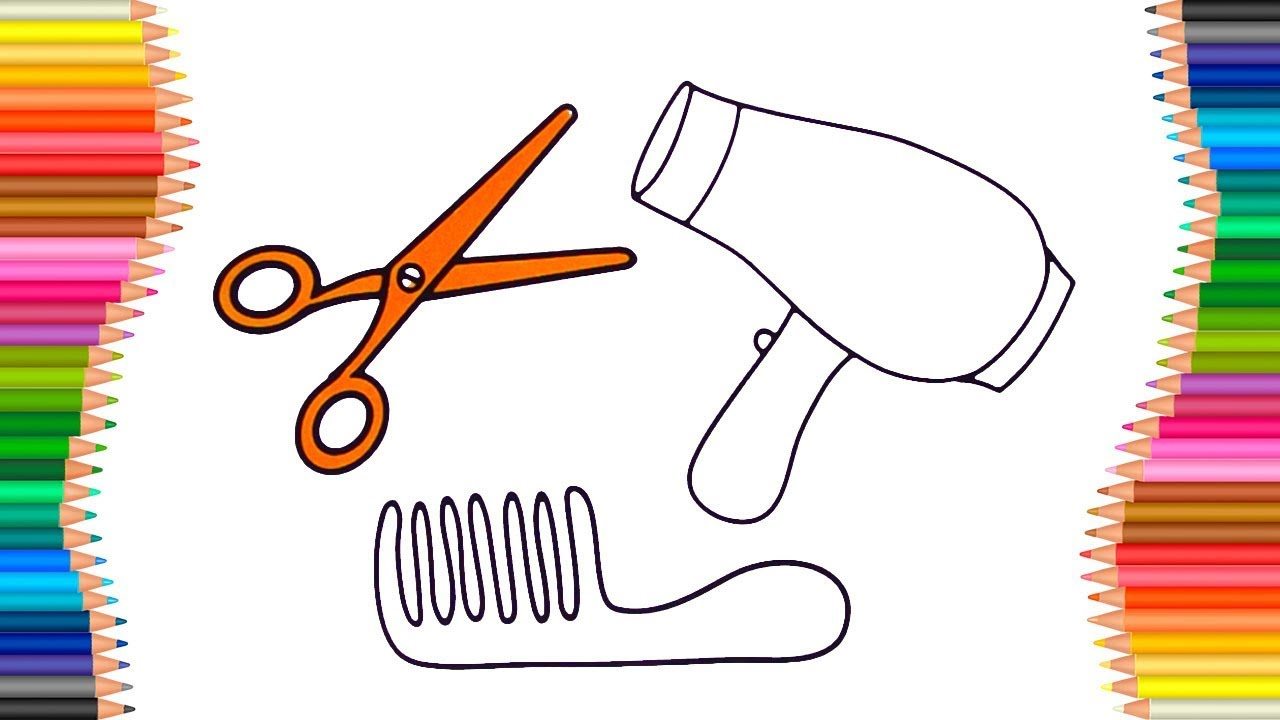 1280x720 How To Draw Hair Accessories Hairdryer, Comb, Scissors Coloring