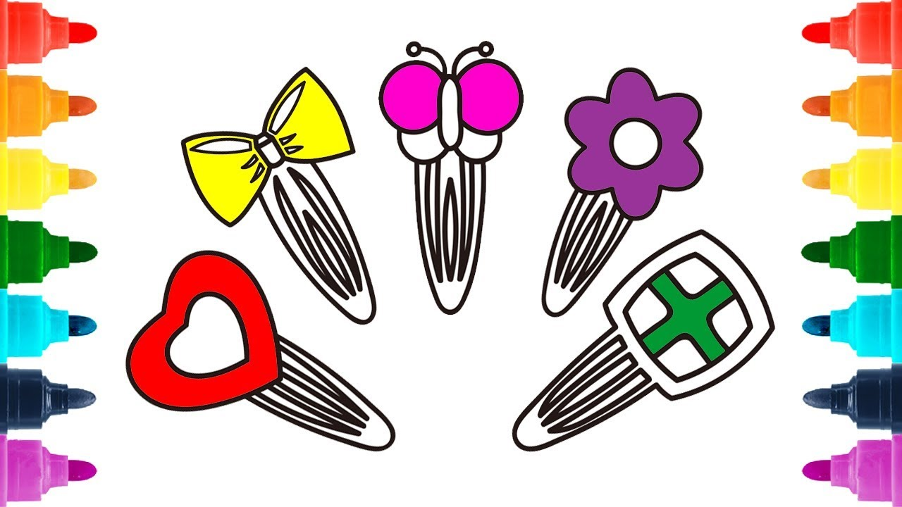 1280x720 How To Draw Hair Pins For Girls Coloring Pages Hair Clips