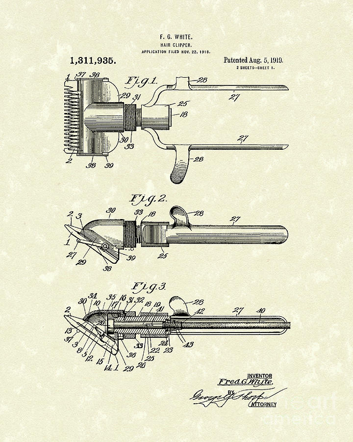 720x900 Hair Clipper 1919 Patent Art Drawing By Prior Art Design