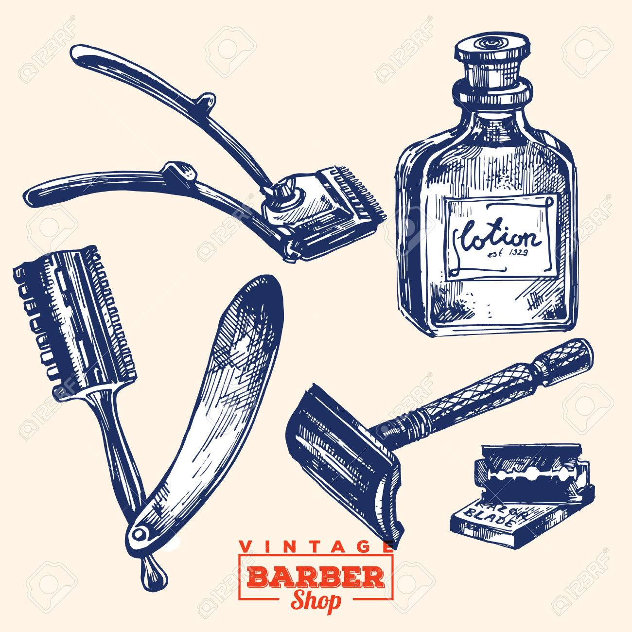 1300x1300 Vintage Barbershop Elements. Set 2. Including Razor Blade, Shaver