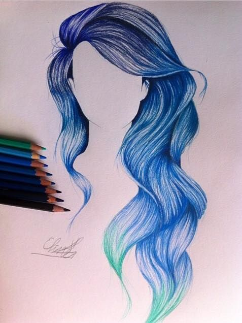477x636 Mermaid Hair Color Drawing Hair!! Blue Wavy Long Hair. Fun To Draw