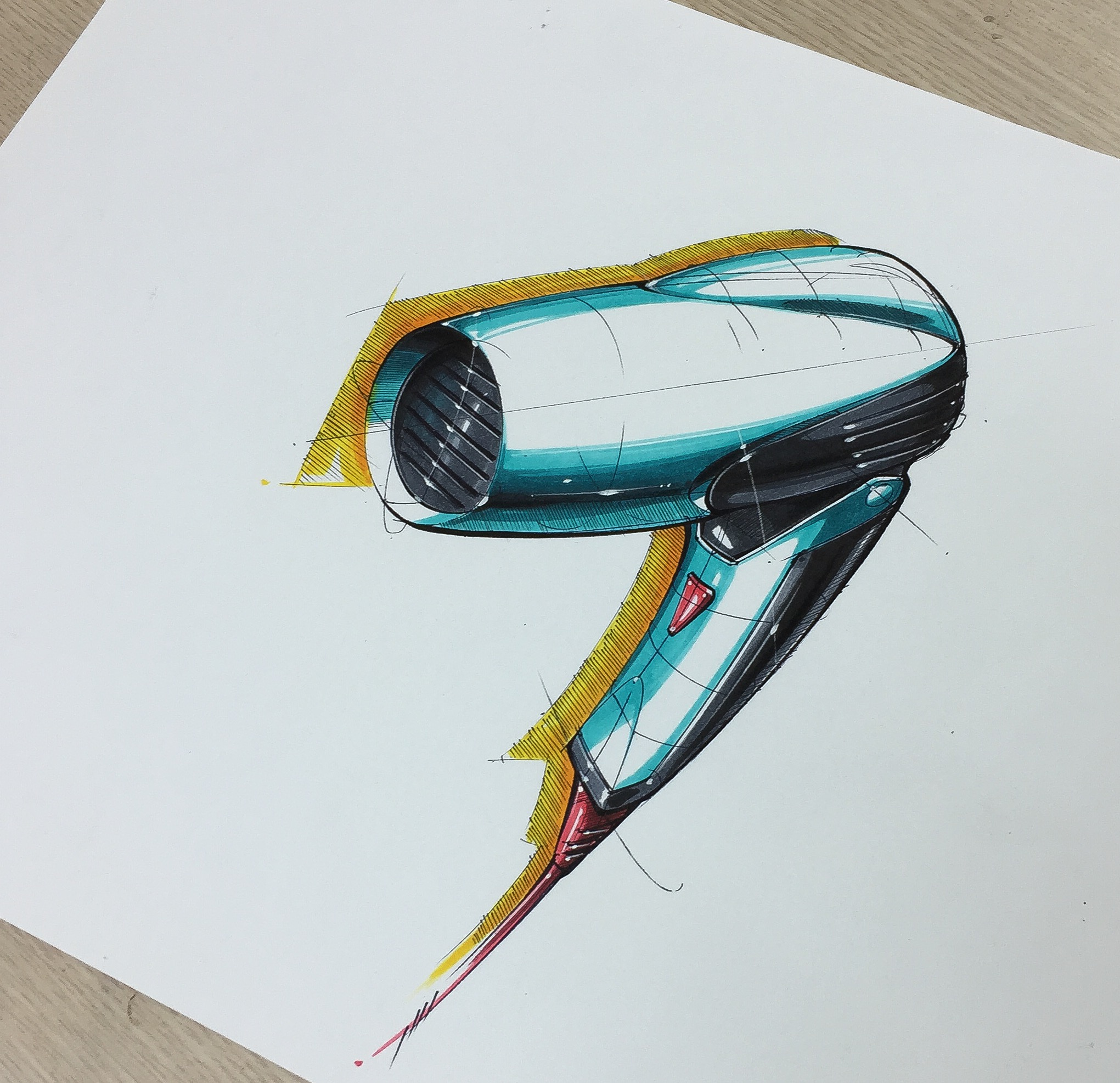 2041x1973 Hair Dryer Sketch Amp Rendering My Sketch Amp Marker Rendering