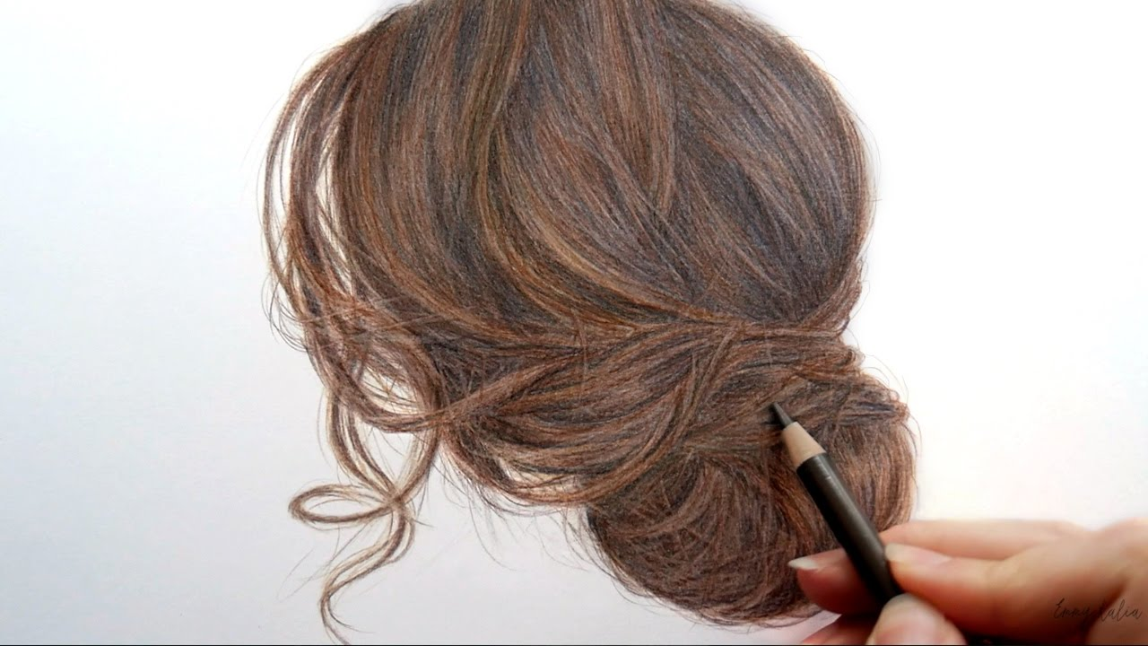 1280x720 Timelapse Drawing And Coloring Brown Hair With Colored Pencils