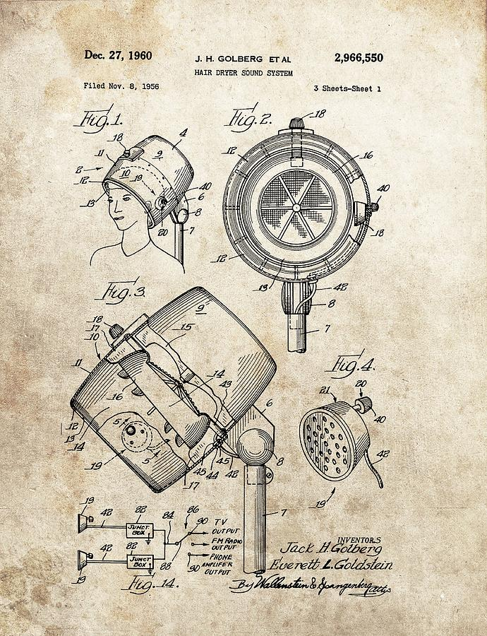 690x900 1960 Hair Dryer Patent Drawing By Dan Sproul