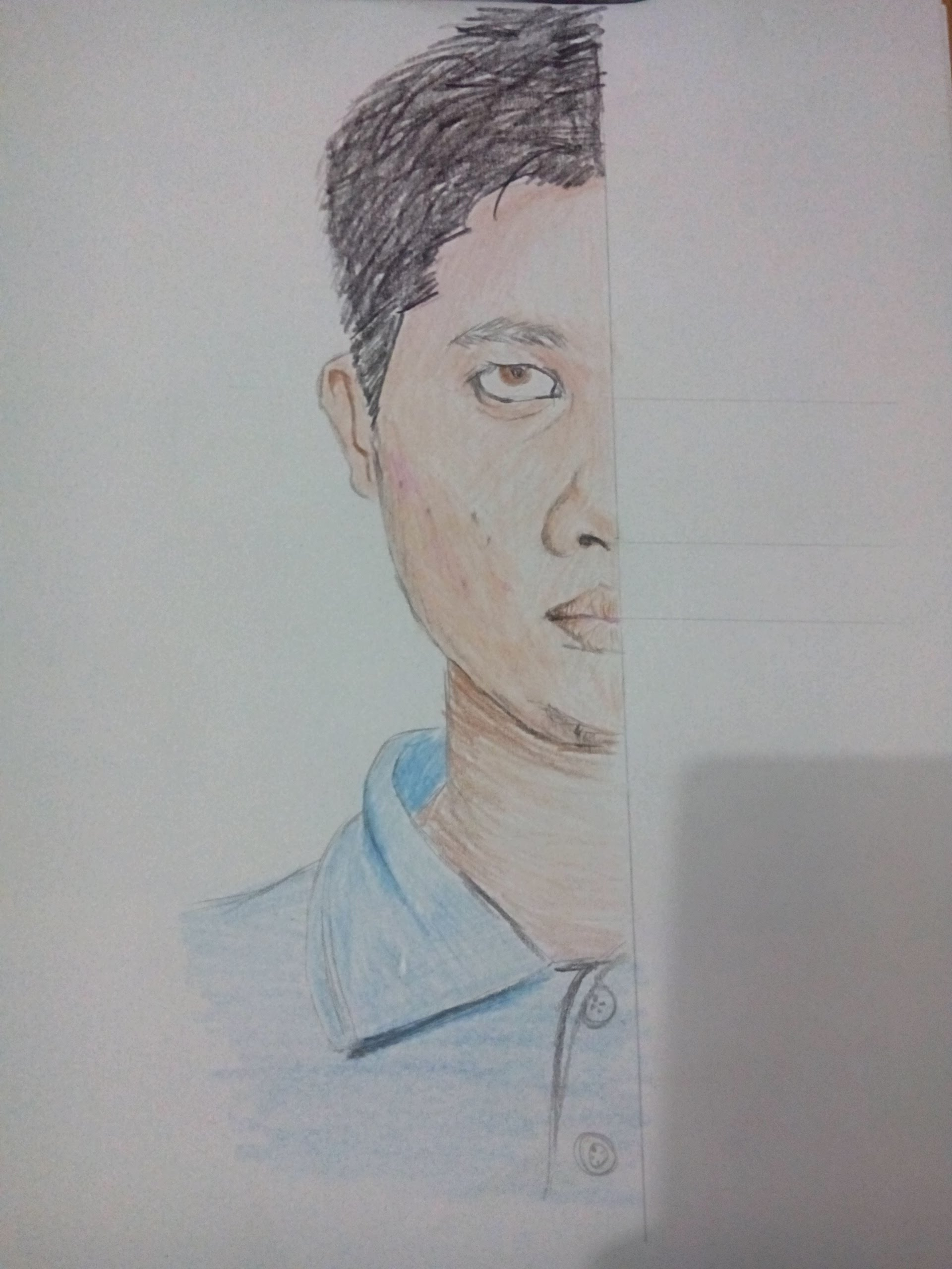 1920x2560 How To Draw A Half Face With Color Pencil.