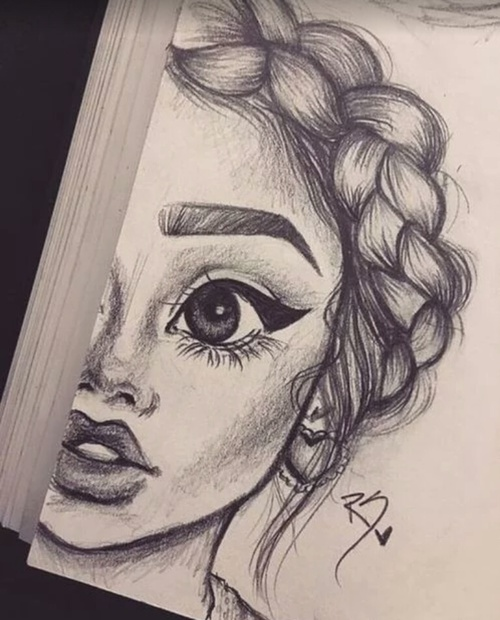 500x620 Art, Drawing, And Girl Artsy Art Drawings