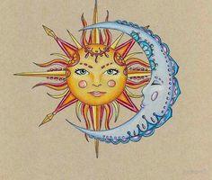 236x200 Half Moon Face Half Moon Drawing Half Moon Half Sun Face 1930s