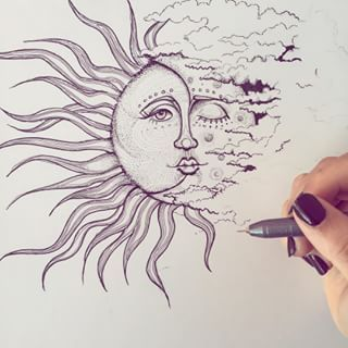 Crescent Moon And Sun Drawings
