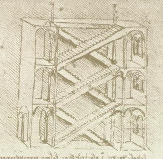 335x326 Drawing By Leonardo Da Vinci, Of Harrelson Hall Stairs Art