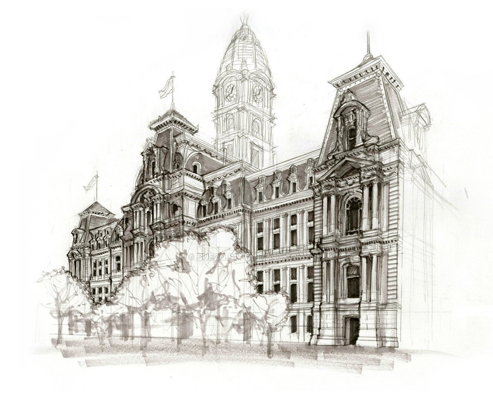 993x804 Philadelphia City Hall Sketch By Cueqq