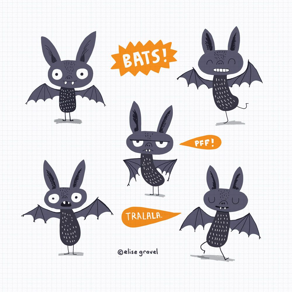 1000x1000 Elise Gravel Illustration Bats Cute Animal Drawing Art