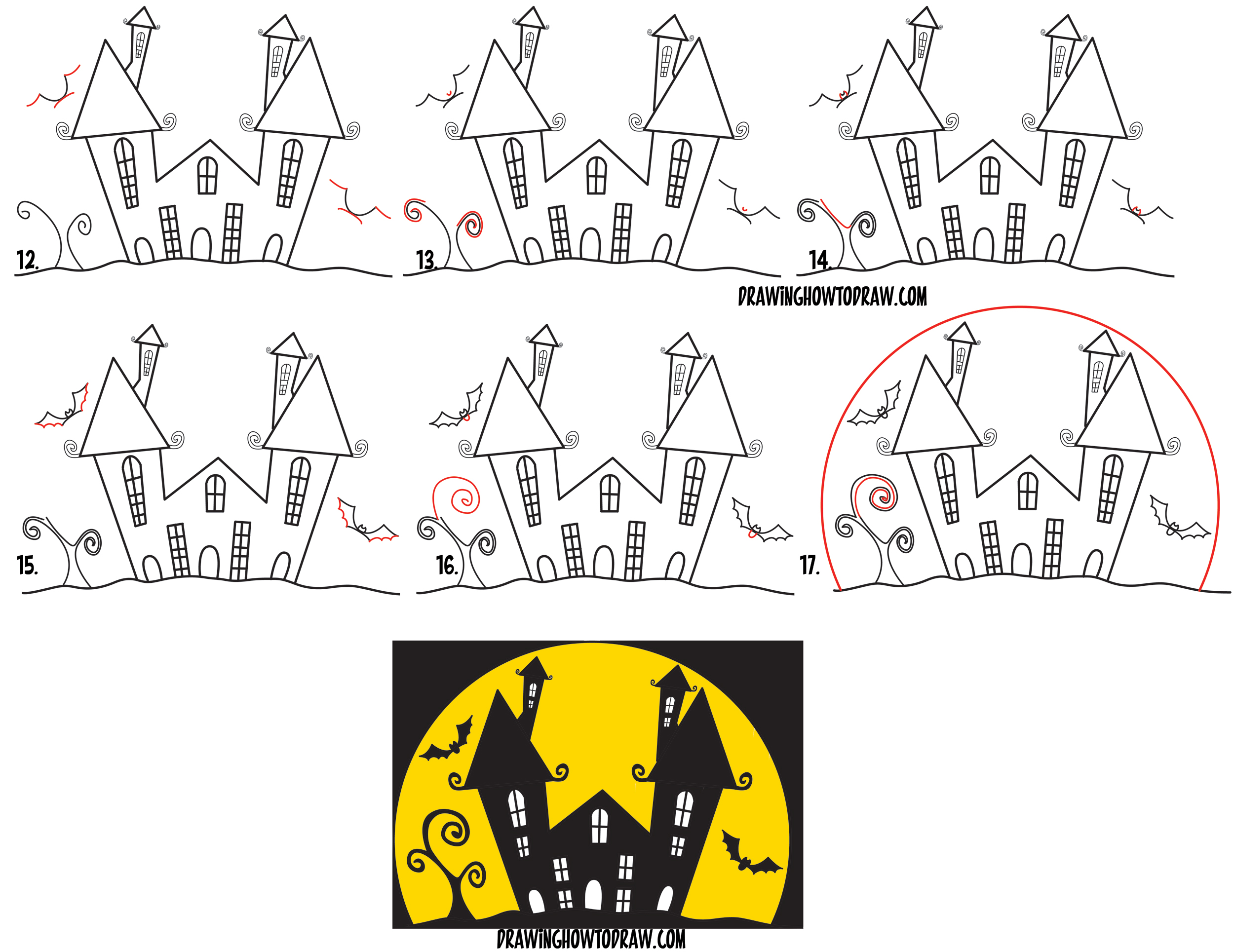 2500x1929 How To Draw A Cartoon Haunted House Step By Step In Silhouette