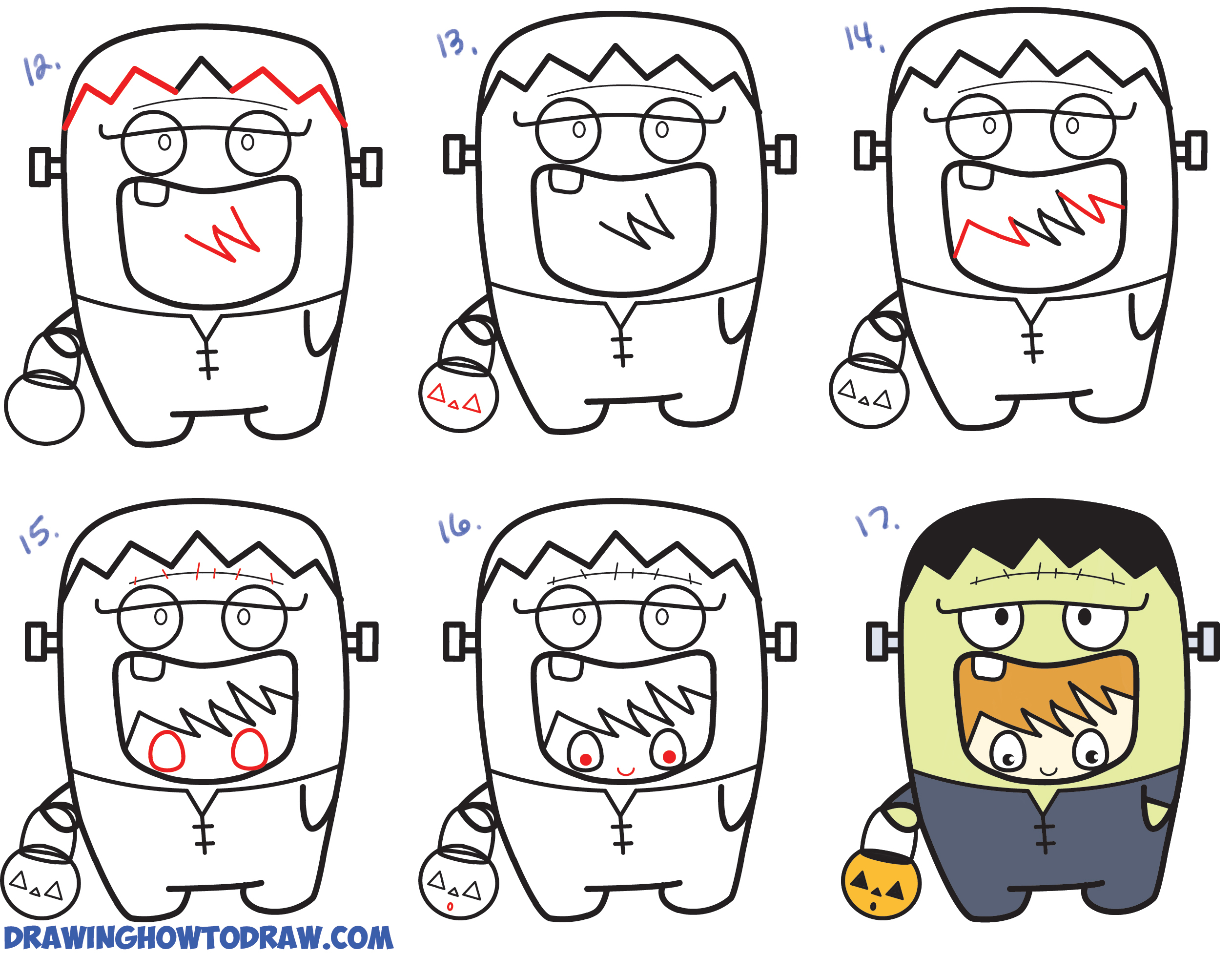 2524x1956 Frankenstein Cartoon Drawing How To Draw A Kid In A Halloween