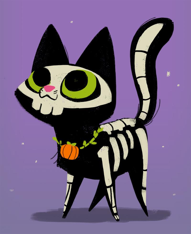 800x979 Daily Cat Drawings 311 Skeleton Cat Happy Halloween Everyone